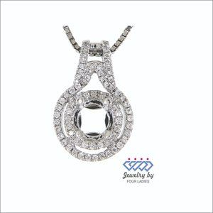 Semi Mount Halo Diamond Pendant 14K White Gold